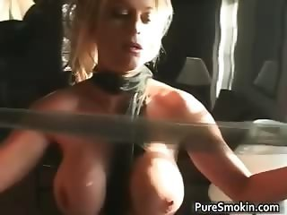 Naked blond chick smokes cigar with her part2
