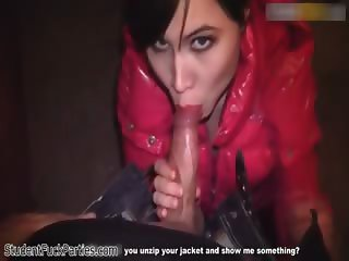 Sexy brunette babe goes crazy sucking part2