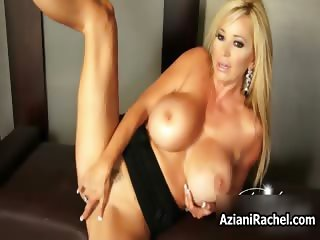 Busty blonde babe goes crazy dildo part5