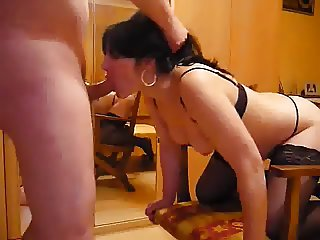 Amateur in sexy lingerie getting rim job and perfect facial
