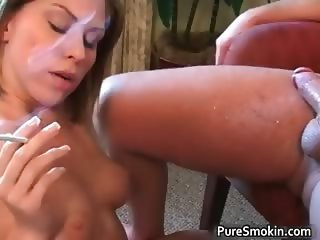 Sexy brunette slut Jesse Smokes part1