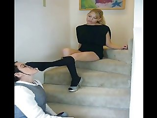 Smell and lick her sexy black kneesocks on stairs