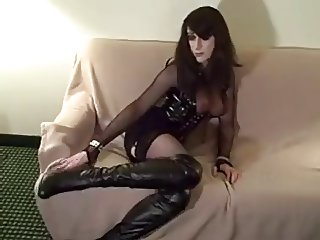 Sexy Shemale in Boots fucks