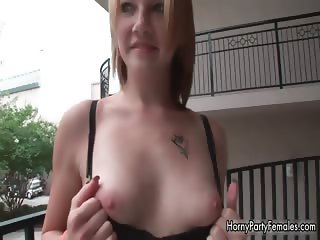 Sexy blonde babe with cute face walking part5