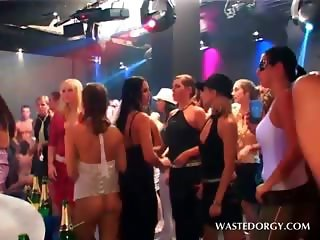 Clothed wet sluts stripping at a hardcore party orgy