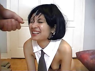 Black-haired amateur with bouncy boobs gets great facial.