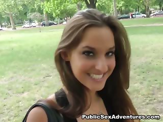 Nasty brunette in public blowjob