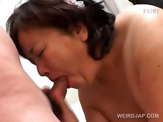 Mature asians dressed as maiden giving BJ in orgy