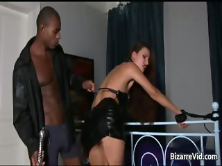 Nasty brunette babe sucks black monster part4