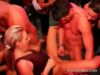 Orgy tramps taking turns in getting cunt fucked in group