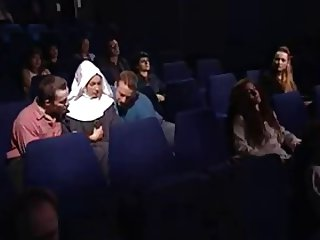 Laura & Madalina at the Movie Theater in a Orgy