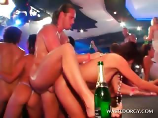 Hardcore orgy with naked slut taking cock deep in cunt
