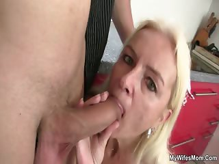 Granny gives head and fucks her son in law