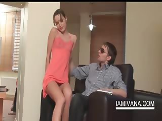 Ivana in a sexy dress gives her BF a hot blowjob