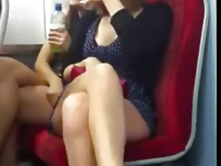 The two girl showing their legs