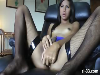Lovely ladyboy sweetheart Gam wanks cock