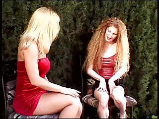 Two horny blondes with hot body fuck their pussies with dildo outside