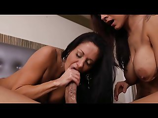 Two Wonderful MILF Fuck Lucky Guy in a Threesome