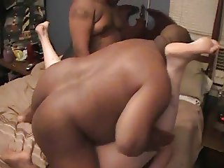 WIFE SUCKS AND FUCKS 2 BLACK GUYS AT HOME