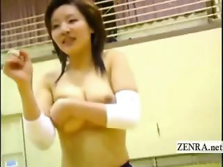 Subtitled Japanese volleyball topless jumping penalty