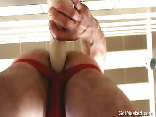 Pierced hunk stuffing his anus part4