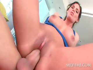 Oily sexy MILF pussy smashed while fingering her ass hole
