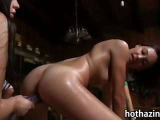 Amateur freshmen licked and shoved dildos in a wild hazing session