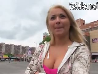 Cute Czech girl Lana fucked in public place in exchange for money