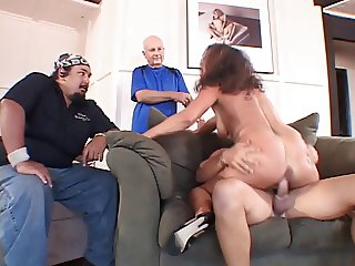 Mature married whore gives guy a blow job in front of her hubby then fucks