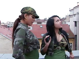 Two Army Girls Arrest A Guy To Get Fucked
