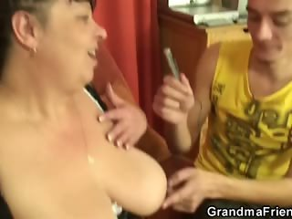 Chubby woman takes two horny dicks