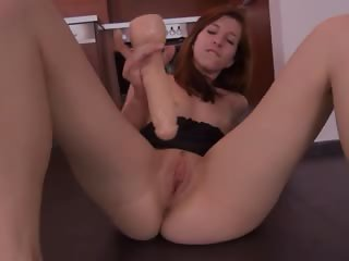 Brutal toy inserted in her czech hole