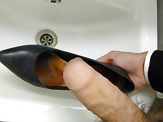 Cum in co-workers high heel