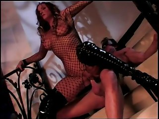 Kinky brunette in fishnet outfit and shiny black boots get a facial after sex