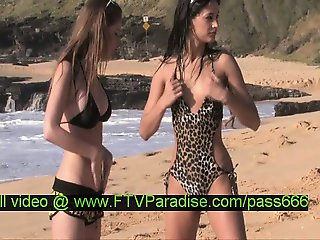 Faye and Larysa tender hot naked babes on the beach