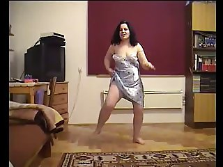 Chubby Wife Strips and Dances