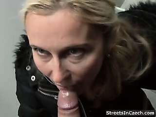 Nasty blonde slut gets horny sucking part4