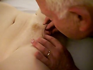Hot woman receives a oral from a 82 year old man