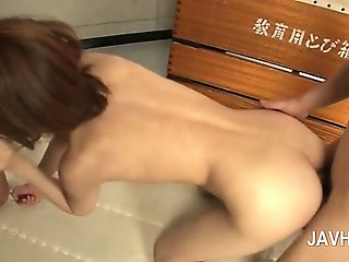 Two guys smashing this cute girls hairy pussy and mouth