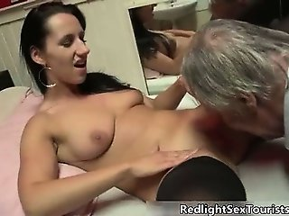 Nasty brunette slut gets horny stripping part2