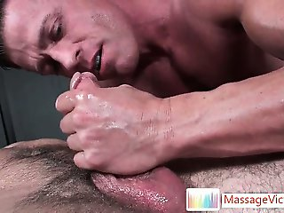 Matthew gets his dick oiled and massaged part1