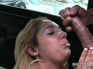 Big titted amateur slut pussy banged doggy style in bus