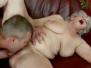 Young man have lick cunt of old lady.