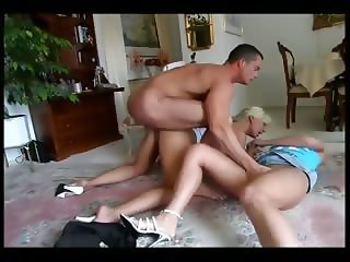 Horny master banging two girls
