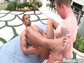 Rubgay Outdoor Interracial Massage