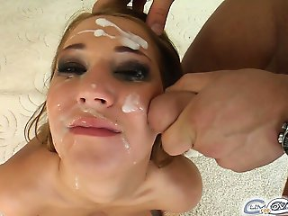 The very pretty Mel takes four dicks down her throat. After the oral sex the guys plaster her face full of their hot cream