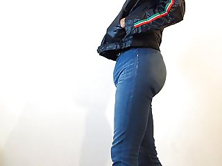 crossdresser in sexy tight jeans with diaper under