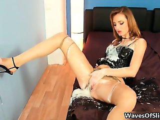 Sexy brunette babe from Slimewave goes part6