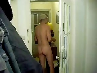 Answering the door naked for the pizza boy