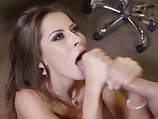 Beautiful Madison Ivy swallows big cum load